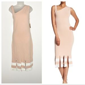 Rachel Roy knit asymmetric colorblock midi dress
